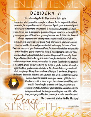 Love Poem Drawing - Sunset Serenity Desiderata Poster by Desiderata Gallery