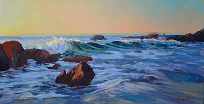 San Clemente Painting - Sunset Session Wood's Cove by Fay Wyles