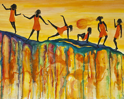 Jamaican Woman Painting - Sunset Shadow Dance by Karen Ann