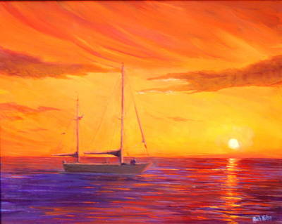 Painting - Sunset Ship by Rich Kuhn