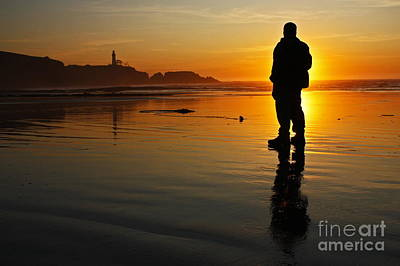 Sunset Silhouette At Yaquina Head Thirty Nine Print by Donald Sewell