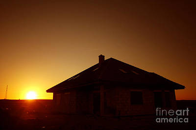 Luxury Photograph - Sunset Silhouette Of House by Michal Bednarek