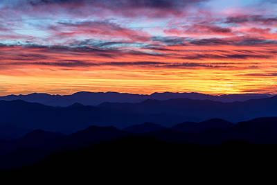 Dusky Photograph - Sunset Silhouette On The Blue Ridge Parkway by Andres Leon