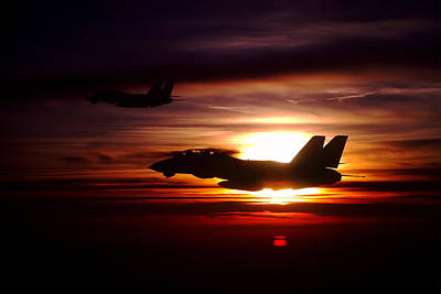Jets Photograph - Sunset Silhouette  by Peter Chilelli
