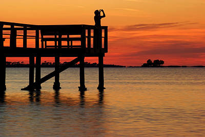 Photograph - Sunset Silhouettes At Crystal Beach Pier IIi by Daniel Woodrum