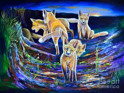 Fox Kit Painting - Sunset Six Pack by AnnaJo Vahle