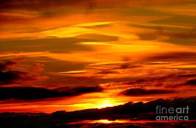 Sunset Sky In Yellow And Red Art Print by Kerstin Ivarsson