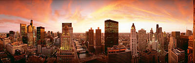 Sunset Skyline Chicago Il Usa Art Print by Panoramic Images