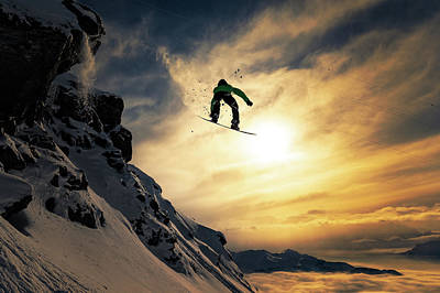 Snow Photograph - Sunset Snowboarding by Jakob Sanne