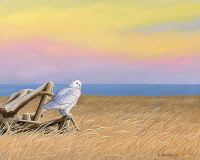 Sunset Snowy Owl Art Print by Kirsten Wahlquist