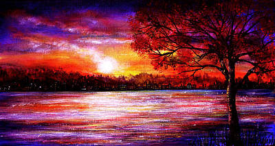 Waterfall Painting - Sunset Song by Ann Marie Bone