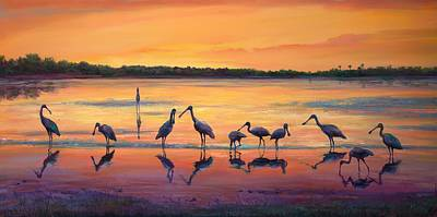 Flocks Of Birds Painting - Sunset Spoonbills by Laurie Hein