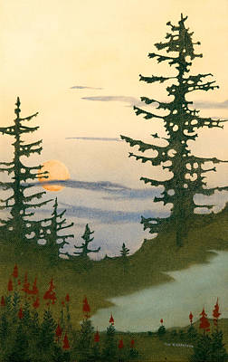 Sunset Spruces Art Print by Bruce Richardson