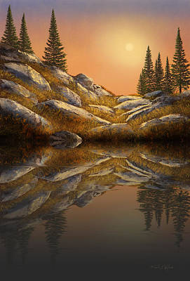 Realism Photograph - Sunset Spruces Reflections by Frank Wilson