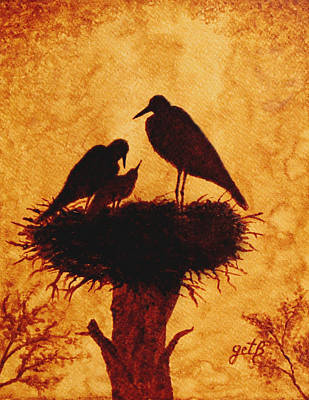 Coffee Painting - Sunset Stork Family Silhouettes by Georgeta  Blanaru