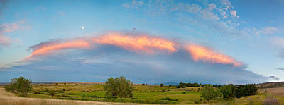 Sunset Storm And Moon From Longmont To Boulder Co Panorama Art Print by James BO  Insogna