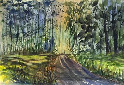 Painting - Sunset Stroll Among The Pines by Carol Wisniewski