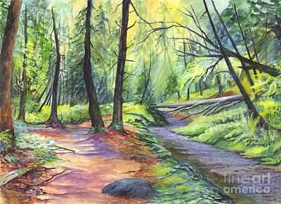 Lavender Drawing - Sunset Stroll  by Carol Wisniewski