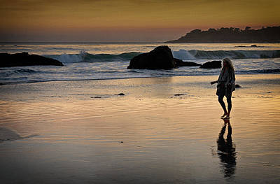 Photograph - Sunset Stroll On San Simeon Beach by Robert Woodward