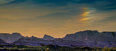 Sunset Sundogs At The Badlands Art Print