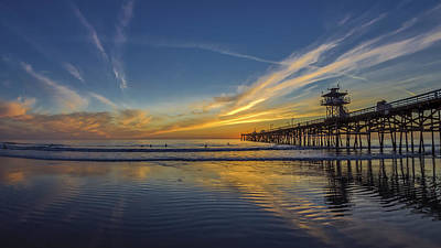 San Clemente Photograph - Sunset Surf by Sean Foster