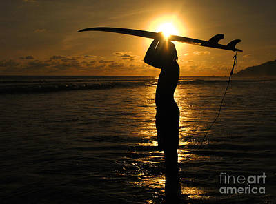 Photograph - Sunset Surfer Corcovado Costa Rica by Bob Christopher