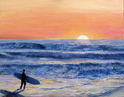 Painting - Sunset Surfer by Jack Skinner