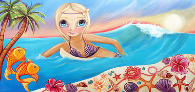 Surfer Girl Painting - Sunset Surfer by Jaz Higgins