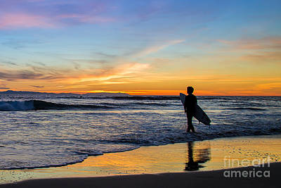 Sunset Surfer Art Print