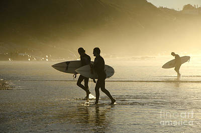 Sunset Surfers Biarritz Art Print by Perry Van Munster