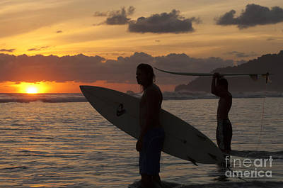 Photograph - Sunset Surfers Corcovado Costa Rica 2 by Bob Christopher
