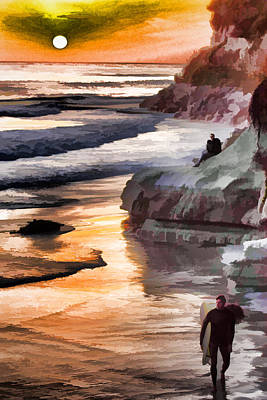 Digital Art - Sunset Surfers by Photographic Art by Russel Ray Photos