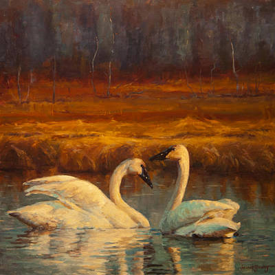 Swans... Painting - Sunset Swans by Jeanne Young