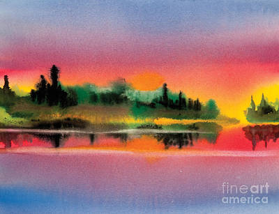 Art Print featuring the painting Sunset by Teresa Ascone