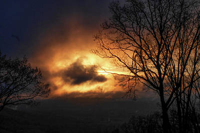 Sunset Through Stormy Clouds Art Print