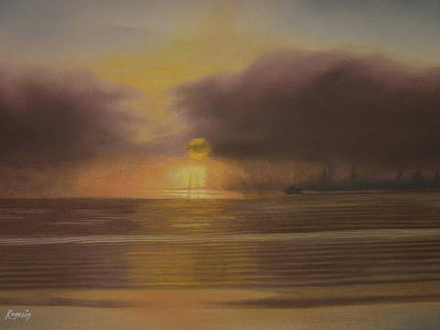 Painting - Sunset Through The Evening Fog by Harvey Rogosin
