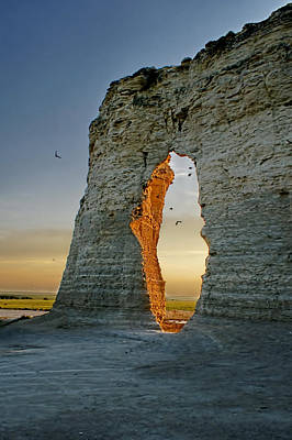 Monument Rocks Of Kansas Photograph - Sunset Through The Keyhole by Alan Hutchins