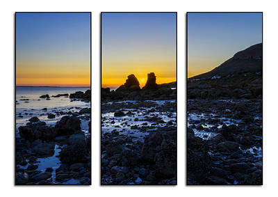 Winter Animals Rights Managed Images - Sunset Through The Rocks Tryptych Royalty-Free Image by Ian Mitchell