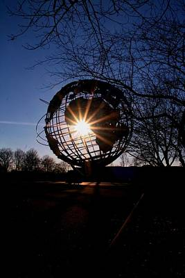 Sunset Through The Unisphere Art Print by Karen Silvestri