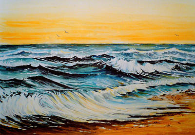 Beach Landscape Mixed Media - Sunset Tide by Andrew Read