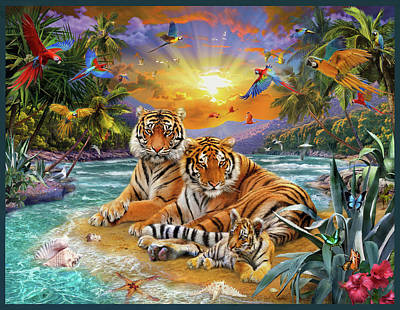 Cubs Drawing - Sunset Tigers by Jan Patrik Krasny