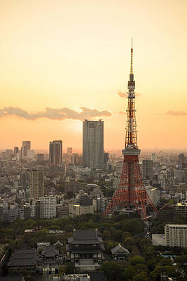 Postkarte Photograph - Sunset Tokyo Tower by For Ninety One Days