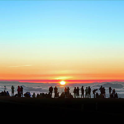 Sunset Tourism On Haleakala Art Print