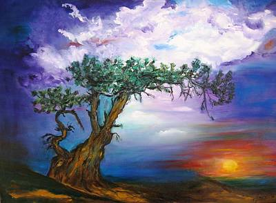 Abstract Painting - Sunset Tree by Doris Cohen