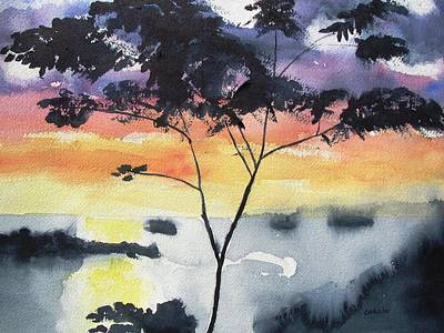 Painting - Sunset Tree Koh Chang Thailand by Carlin Blahnik CarlinArtWatercolor