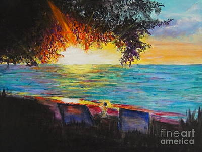 Sunset Tree Planted By The Shiny Turquoise Water Art Print