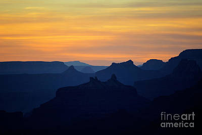 Western Themed Photograph - Sunset Twilight Over Silhouetted Spires In Grand Canyon National Park by Shawn O'Brien