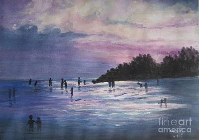 Sunset Art Print by Usha Rai