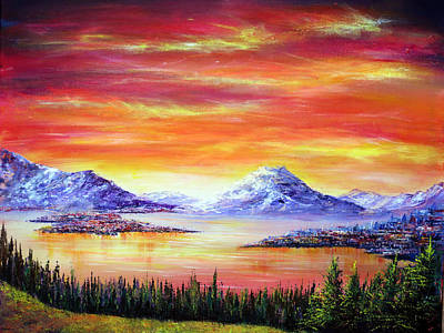 Christmas Painting - Sunset View by Ann Marie Bone