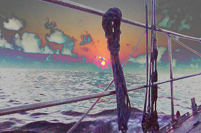 South Sea Mixed Media - Sunset View From Sail Boat In Chile South America Grahic Enhancement Navinjoshi Artist Top100 by Navin Joshi